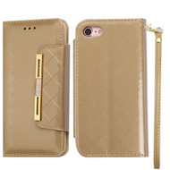 Designer Checker Patent Leather Wallet Case for iPhone 8 / 7 - Gold