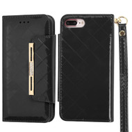 Designer Checker Patent Leather Wallet Case for iPhone 8 Plus / 7 Plus - Black