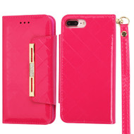 Designer Checker Patent Leather Wallet Case for iPhone 8 Plus / 7 Plus - Hot Pink