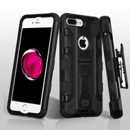 Military Grade TUFF Galactic Hybrid Armor Kickstand Case with Holster for iPhone 8 Plus / 7 Plus - Black