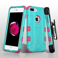 Military Grade TUFF Galactic Hybrid Armor Kickstand Case with Holster for iPhone 7 Plus - Teal Hot Pink