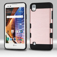 Military Grade TUFF Trooper Dual Layer Hybrid Armor Case for LG Tribute HD / X Style - Brushed Rose Gold