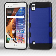 *Sale* Military Grade TUFF Trooper Dual Layer Hybrid Armor Case for LG Tribute HD / X Style - Brushed Blue