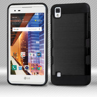Military Grade TUFF Trooper Dual Layer Hybrid Armor Case for LG Tribute HD / X Style - Brushed Black