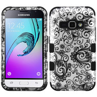 Military Grade TUFF Image Hybrid Armor Case for Samsung Galaxy Amp 2 / Express 3 / J1 (2016) - Leaf Clover Black