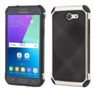 *SALE* Tough Hybrid Leather Case for Samsung Galaxy J3 (2017) / J3 Emerge / J3 Prime / Amp Prime 2 / Sol 2 - Black