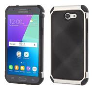 Tough Hybrid Leather Case for Samsung Galaxy J3 (2017) / J3 Emerge / J3 Prime / Amp Prime 2 / Sol 2 - Black