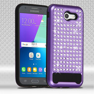 Luxury Bling Diamond Hybrid Case for Samsung Galaxy J3 (2017) / J3 Emerge / J3 Prime / Amp Prime 2 / Sol 2 - Purple