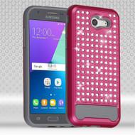 Luxury Bling Diamond Hybrid Case for Samsung Galaxy J3 (2017) / J3 Emerge / J3 Prime / Amp Prime 2 / Sol 2 - Hot Pink