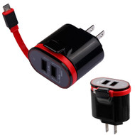 Dual USB Ports AC Travel Wall Charger with Integrated Micro-USB Connector - Black