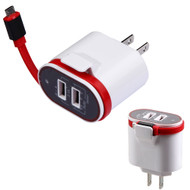 Dual USB Ports AC Travel Wall Charger with Integrated Micro-USB Connector - White