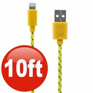10 ft. Eco-Friendly Braided Nylon Fiber Lightning Connector to USB Charge and Sync Cable - Yellow