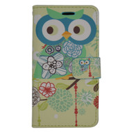 Designer Graphic Leather Wallet Stand Case for Samsung Galaxy Amp Prime / Express Prime / J3 / Sol - Owl