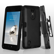 Military Grade TUFF Hybrid Armor Case with Holster for LG Aristo / Fortune / K8 2017 / Phoenix 3 - Black