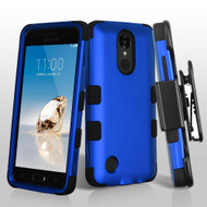 Military Grade TUFF Hybrid Armor Case with Holster for LG Aristo / Fortune / K8 2017 / Phoenix 3 - Blue