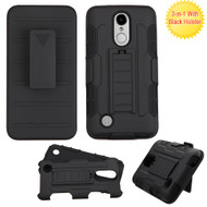Robust Armor Stand Protector Cover with Holster for LG Aristo / Fortune / K8 2017 / Phoenix 3 - Black