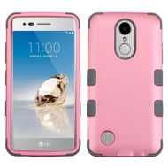 Military Grade Certified TUFF Hybrid Armor Case for LG Aristo / Fortune / K8 2017 / Phoenix 3 - Pearl Pink Grey