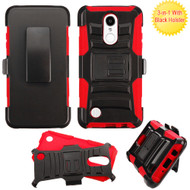Advanced Armor Hybrid Kickstand Case with Holster for LG Aristo / Fortune / K8 2017 / Phoenix 3 - Black Red