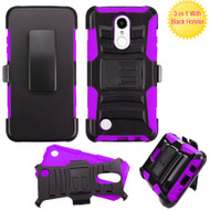 Advanced Armor Hybrid Kickstand Case with Holster for LG Aristo / Fortune / K8 2017 / Phoenix 3 - Black Purple