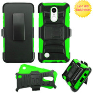 Advanced Armor Hybrid Kickstand Case with Holster for LG Aristo / Fortune / K8 2017 / Phoenix 3 - Black Green