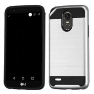 *Sale* Brushed Hybrid Armor Case for LG Stylo 3 / Stylo 3 Plus - Silver