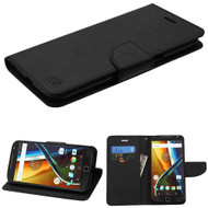 Leather Wallet Shell Case for Motorola Moto G4 / G4 Plus - Black