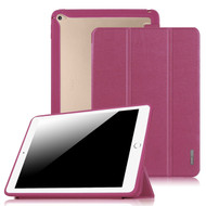 Tri-Fold Smart Leather Cover with Hybrid Transparent Hard Back Shell Case for iPad Air 2 - Purple