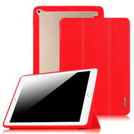 Tri-Fold Smart Leather Cover with Hybrid Transparent Hard Back Shell Case for iPad Air 2 - Red