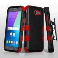 TUFF Case + Holster for Samsung Galaxy J3 (2017) / J3 Emerge / J3 Prime / Amp Prime 2 / Sol 2 - Black Red