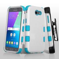 *Sale* TUFF Case + Holster for Samsung Galaxy J3 (2017) / J3 Emerge / J3 Prime / Amp Prime 2 / Sol 2 - White Teal