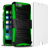 Advanced Armor Hybrid Case with Holster and Tempered Glass Screen Protector for iPhone 6 Plus / 6S Plus - Black Green