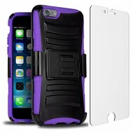 Advanced Armor Hybrid Case with Holster and Tempered Glass Screen Protector for iPhone 6 Plus / 6S Plus - Black Purple