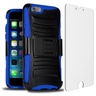 Advanced Armor Hybrid Case with Holster and Tempered Glass Screen Protector for iPhone 6 Plus / 6S Plus - Black Blue
