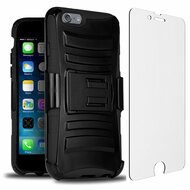 Advanced Armor Hybrid Kickstand Case with Holster and Tempered Glass Screen Protector for iPhone 6 / 6S - Black