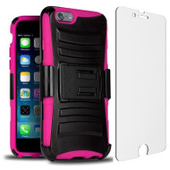 Advanced Armor Hybrid Kickstand Case with Holster and Tempered Glass Screen Protector for iPhone 6 / 6S - Black Hot Pink
