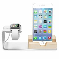 Aluminum Apple Watch Desktop Charging Dock / Bamboo Wood Smartphone Stand