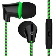 HyperGear Sound Wavez Braided Stereo Earphones with In-Line Microphone - Green