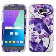 *Sale* Military Grade TUFF Image Hybrid Armor Case for Samsung Galaxy J3 Emerge - Purple Hibiscus Flower