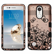 Military Grade TUFF Image Hybrid Armor Case for LG Aristo / Fortune / K8 2017 / Phoenix 3 - Lace Flowers Rose Gold