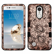 Military Grade TUFF Image Hybrid Armor Case for LG Aristo / Fortune / K8 2017 / Phoenix 3 - Leaf Clover Rose Gold