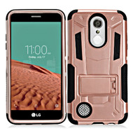 Transformer Hybrid Armor Case with Stand for LG Aristo - Rose Gold