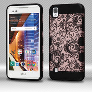 Military Grade TUFF Trooper Dual Layer Hybrid Armor Case for LG Tribute HD / X Style - Leaf Clover Rose Gold