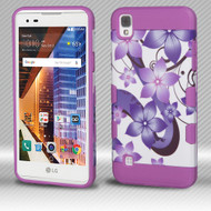 Military Grade TUFF Trooper Dual Layer Hybrid Armor Case for LG Tribute HD / X Style - Purple Hibiscus Flower Romance