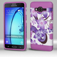 *SALE* Military Grade TUFF Trooper Dual Layer Hybrid Armor Case for Samsung Galaxy On5 - Purple Hibiscus Flower Romance