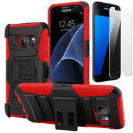 Advanced Armor Hybrid Kickstand Case with Holster and Tempered Glass Screen Protector for Samsung Galaxy S7 - Black Red