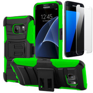 Advanced Armor Hybrid Kickstand Case with Holster and Tempered Glass Screen Protector for Samsung Galaxy S7 - Green