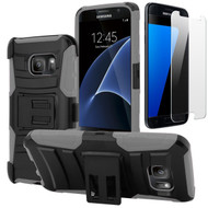 Advanced Armor Hybrid Kickstand Case with Holster and Tempered Glass Screen Protector for Samsung Galaxy S7 - Black Grey