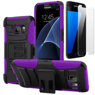 Advanced Armor Hybrid Kickstand Case with Holster and Tempered Glass Screen Protector for Samsung Galaxy S7 - Purple