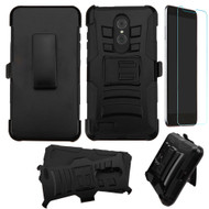 Advanced Armor Hybrid Kickstand Case with Holster and Tempered Glass Screen Protector for ZTE Zmax Pro - Black