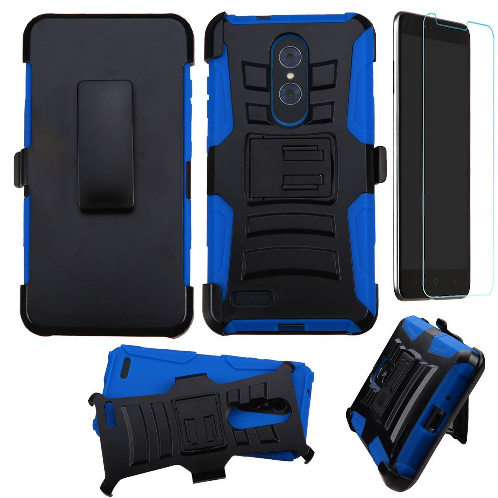 Advanced Armor Hybrid Kickstand Case With Holster And Tempered Glass Screen Protector For Zte